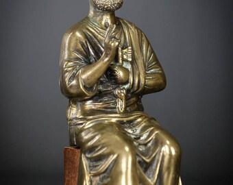 "RARE Saint Peter Antique Bronze Brass Sculpture St Apostle Statue Keys of Heaven 9"""