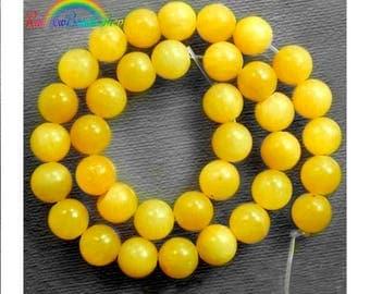 Natural Jade Beads, Yellow Jade Beads, Yellow Gemstone Beads, Yellow Beads, Round Natural Beads, 15''5 strand, 4mm 6mm 8mm 10mm 12mm