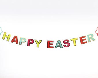 Easter - Happy Easter Banner | Easter Decor | Easter Bunting, Garland | Gold Easter | Easter Bunny