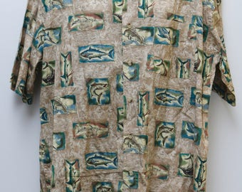 "Rare 90's Vintage ""BIMINI BAY"" Short-Sleeve Abstract Patterned Shirt Sz: XXLARGE (Men's Exclusive)"