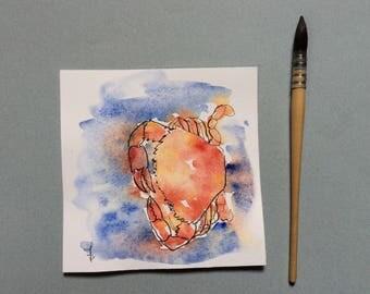 """Watercolor fuchia, kitchen, """"Crab"""""""
