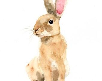 Rabbit art print , hare , nursery woodland animal , watercolor rabbit , rabbit painting , forest animal art print , digital print download
