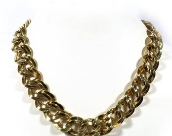 "Vintage Signed Monet Heavy Double Link Chain 20"" Necklace #213"