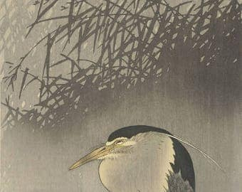 "Japanese Art Print ""Heron under New Moon"" by Ohara Koson, woodblock print reproduction, fine art, asian art, cultural art, crescent moon"