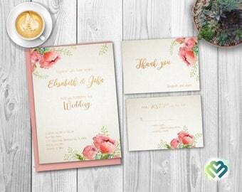 Spring Floral Wedding Invitation Printable Boho Wedding Invitation Suite Romantic Wedding Invitation  Wedding Invite Floral Gold Wedding