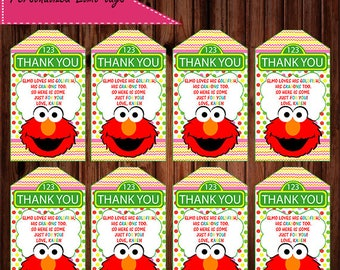 Elmo Favor Tags, Elmo tag, Elmo loves his goldfish and crayons too, Elmo Thank You Tags, Elmo Thank You Tag digital File, Elmo printable tag