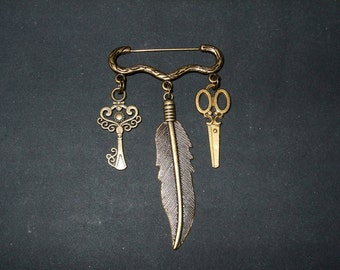 Steampunk Bronze  feather,scissors,and key,  Kilt pin brooch