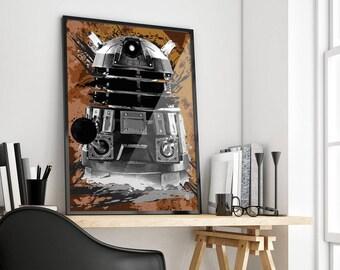 Dalek   Doctor Who   Grunge   Poster Print Design   A0 A1 A2 A3 A4