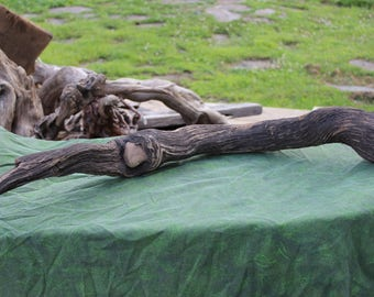Long, real driftwood branch with naturally embedded rock - large, dark, craft item, stick, eco-friendly