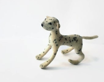 Wool dog Soft toy Felted dog sculpture Spotted dog Natural wool toy Felt toy dog Needle felt animal Miniature wool dog toy Dalmatian