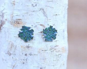 Handmade Green Curly Rosette Succulent Post Earrings
