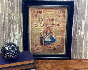 "Alice in Wonderland Wall Art, Alice ""Drink Me"" on Playing Card color Illustration, Lewis Carroll print art on 8x10 upcycled dictionary page"