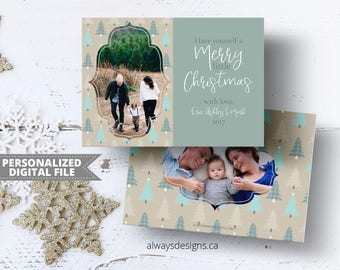 Merry Christmas Card, Christmas Tree Card, Photo Card, Aqua an Brown, Holiday Card, Printable Card, Greeting Card,  5x7 Card, Digital File