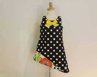 Black and White Polka Dot and Circle Print Reversible Sundress