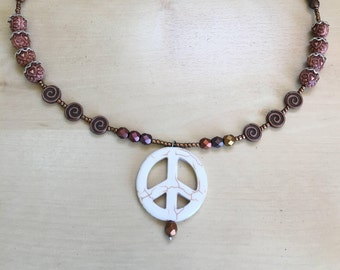 Ivory Peace Sign Necklace