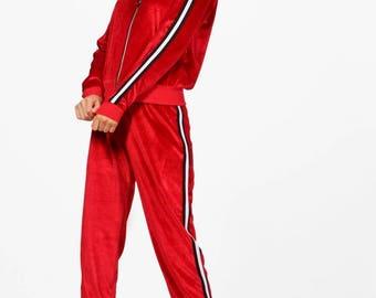Bonnie Sports Trim Zip Through Velour Set