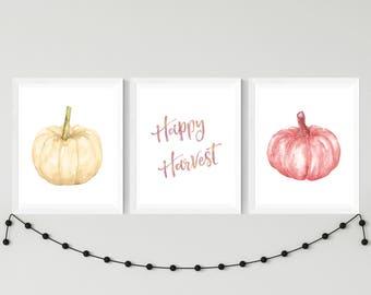 Happy Harvest Sign, Watercolor Pumpkin Printable, Happy Harvest Printable, Fall Printable, Thanksgiving Decor Autumn Decorations, Fall Decor