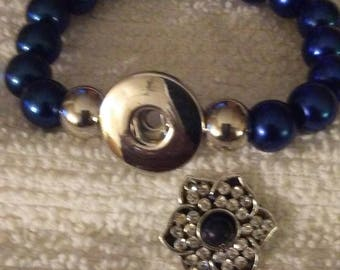 Snap charm bracelet w/ 1 replaceable snap charm button FREE SHIPPING