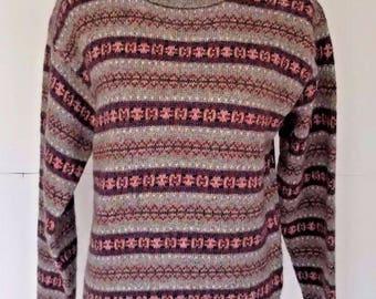 Vintage Womens Ralph Lauren Fair Aisle Nordic Wool Gray Blue Red Sweater Large