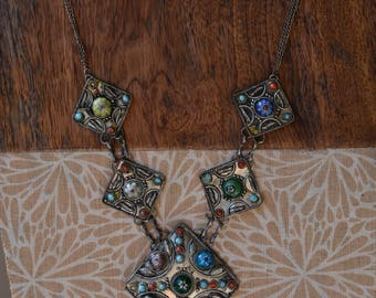 Ethnic Oriental Boho Tribe Necklace Blue