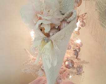 Vintage Lace Cone Holiday Cone Romantic Ivory Fabric Cone Tussie Mussie Pink Christmas Cone