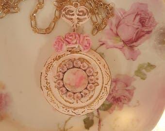 Vintage Shabby Chic Pink Metal Locket Romantic Cherub Valentine Necklace Cherish Valentine Gift Romantic Jewelry Vintage Cupid Cherub