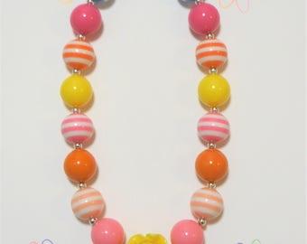 Girls Chunky Bubblegum Necklace, Little Girls Chunky Necklace, Toddler Jewelry, Girls Bubblegum Necklace, Toddler Necklace, Girls Jewelry