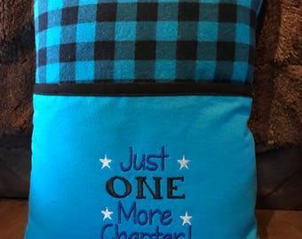 "Book Pillow Reading Pillow, Just One More Chapter, Soft Blue Plaid Flannel with Blue Flannel Pocket, 12"" x 16"" Read Comfortable Stars"