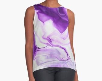 Original Art Print Contrast Tank Top Shirt - Purple Smoke