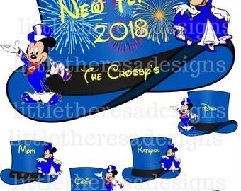 Happy New Year Mickey Top Hat Family Transfer,Digital Transfer,Digital Iron On,Diy