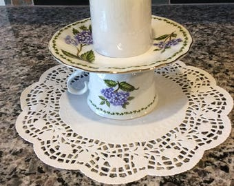 Cup and Saucer / Repurpased / Candle Holder / Candy Dish