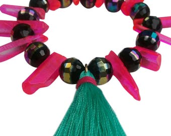 Hot Pink Stick And Black Bead Bracelet With Mint Green Tassel