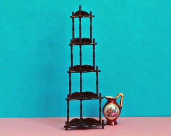 Graduated Victorian corner shelves - mahogany miniature - 1/12 scale - vintage what not stand - dollhouse furniture - delicate carving
