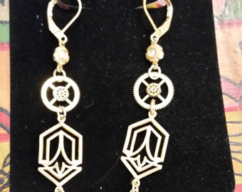 Handmade Earrings made from Brass, beads, and gears.