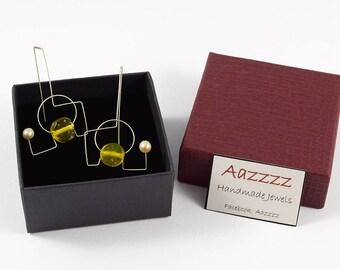 Bridesmaid gift, Yellow earrings, Silver earrings, Handmade earrings, Pearl earrings, Minimalist earrings, Silver jewelry, Yellow jewelry