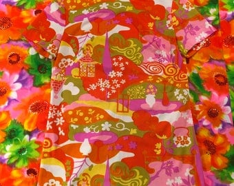 Vintage Psychedelic Orange Pink Green Short Sleeve Mod Top Shirt Novelty Print Daisy Op Art Trippy