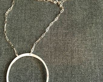 Hand-Finished Sterling Silver Circle Necklace