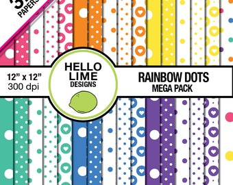 Digital Paper Pack - Rainbow Dots MEGA Pack - Commercial Use Printable Patterns