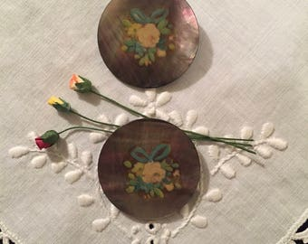 Vintage Buttons - Mother of Pearl with a Floral Decal Set of 2