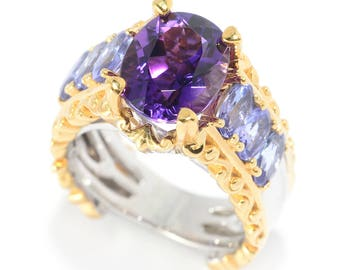 Michael Valitutti Palladium Silver Congo Amethyst & Tanzanite High-Set Ring, Yellow gold and silver