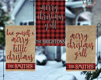 Personalized Christmas Garden House Flag - Merry Christmas Y'all Faux Burlap Print and Buffalo Check Plaid Christmas Garden  House Flag
