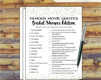 Famous Movie Quotes Match Game Bridal Shower Game - Gold Silver Confetti Theme Printable Movie Quotes Match Game - Bachelorette Party