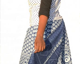 "Handmade Traditional Three Cats Indigo Shweshwe wrap skirt waist 1,25 mtr (49"")"