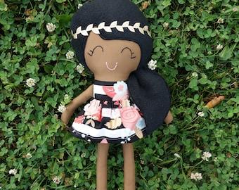 Cloth doll - African American doll - ready to ship doll- fabric doll - handmade doll - rag doll  - girls toy - big sister gift