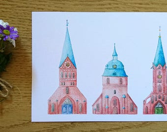 Postcard-Lüneburg Churches