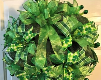 """Small St. Patrick's Day  mesh wreath  20"""""""