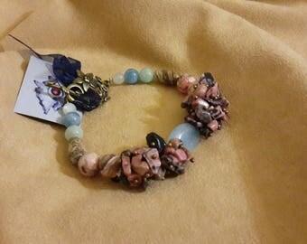 Bracelet with aquamarine, Jasper, rhodonite, Sunstone