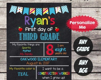 First Day of THIRD GRADE Sign First Day of School sign First Day of School Chalkboard Printable Personalized Back to School Sign ANYgrade #2