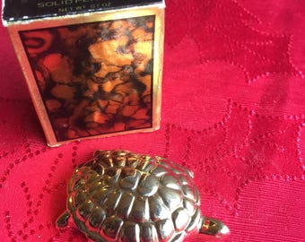 Hold For Tann**NIB Vintage Avon Golden Turtle Candid Solid Perfume Glace', 1978