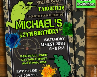 Paintball Invitation, Paintball Birthday Party, Video Game Invitation, Boys Invitation, Teen Invitation, Birthday Invitation BK-6